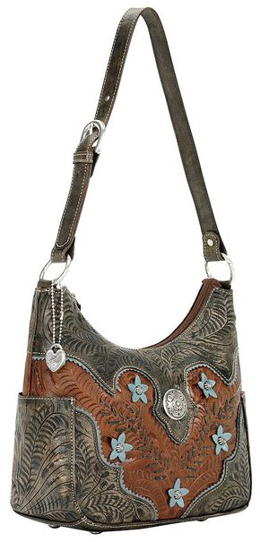 American West Desert Wildflower Hobo Bag, Brown, hi-res
