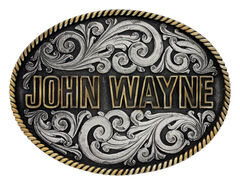 Montana Silversmiths Two-Tone John Wayne Rope Trim Attitude Belt Buckle, , hi-res