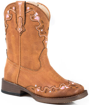Roper Toddler Girls' Tan Vintage Crystal Cowgirl Boots - Square Toe  , Tan, hi-res