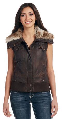Cripple Creek Women's Brown Faux Fur Lining Aviator Vest, , hi-res