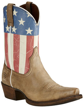 Ariat Old Glory Flag Cowgirl Boots - Snip Toe , Brown, hi-res