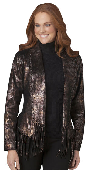 Cripple Creek Black & Gold Fringe Leather Jacket, Black, hi-res