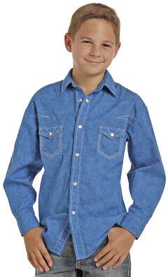 Rock & Roll Cowboy Boys' Blue Paisley Print Long Sleeve Shirt , , hi-res