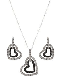 Montana Silversmiths Double Heart Bling Necklace Set, , hi-res