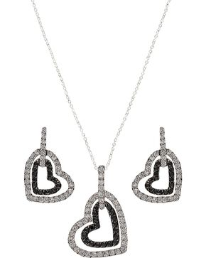 Montana Silversmiths Double Heart Bling Necklace Set, Silver, hi-res
