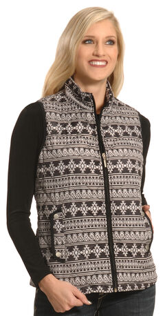 Jane Ashley Women's Black Quilted Southwestern Print Vest , , hi-res