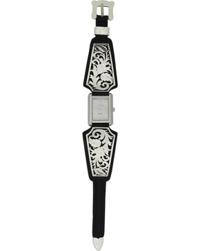 Montana Silversmiths Leathercut Floral Scroll Dress Watch, Silver, hi-res