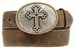 Nocona Distressed Cracked Leather Belt with Fancy Cross Oval Buckle - Plus, , hi-res