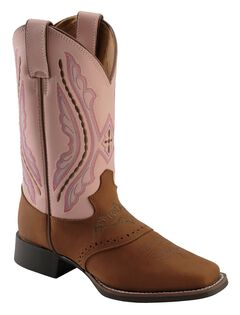 Justin Girls' Western Saddle Vamp Cowgirl Boots - Square Toe, , hi-res