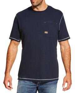 Ariat Men's Navy Rebar Crew Short Sleeve Pocket Tee, Navy, hi-res