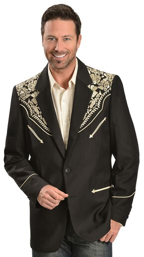 Scully Gold Floral Embroidered Black Western Jacket, Gold, hi-res