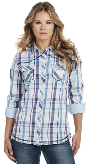 Cowgirl Up Women's Blue Plaid Long Sleeve Shirt, Blue, hi-res