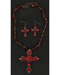 Blazin Roxx Rhinestone Embellished Cross Necklace & Earrings Set, , hi-res