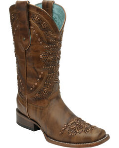 Corral Women's Brown Studded Cowgirl Boots - Square Toe, , hi-res