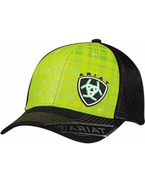 Ariat Men's Lime Green Plaid Baseball Cap , Bright Green, hi-res