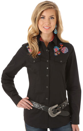Wrangler Rock 47 Women's Black Embroidered Western Shirt, Black, hi-res