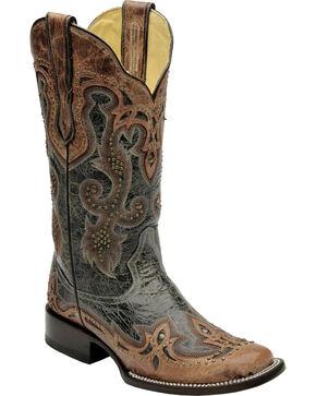 Corral Women's Black Antique Saddle Cowgirl Boots - Square Toe, Black, hi-res