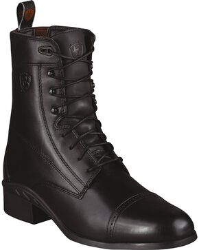 Ariat Men's Heritage 3 Paddock Lace-Up Riding Boots - Round Toe, Black, hi-res