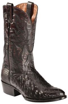 Dan Post Black Cherry Quilled Ostrich Cowboy Boots - Round Toe, , hi-res