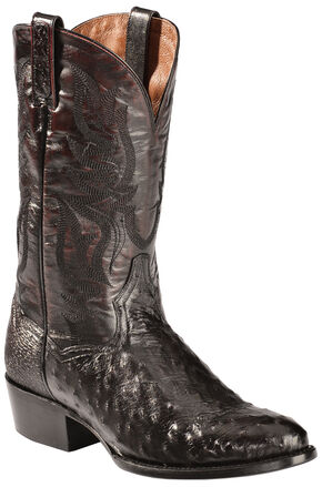 Dan Post Black Cherry Quilled Ostrich Cowboy Boots - Round Toe, Black Cherry, hi-res