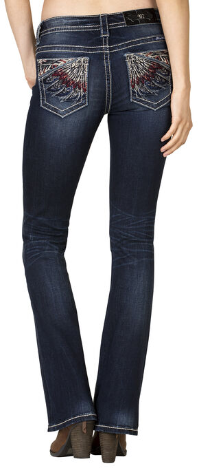 Miss Me Women's Mid-Rise Feather Embroidered Bootcut Jeans , Blue, hi-res