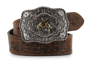 Cody James® Kid's Floral Tooled Belt, Brown, hi-res