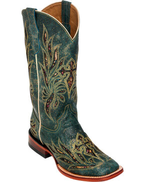Ferrini Teal Vixen Cowgirl Boots - Square Toe, Teal, hi-res