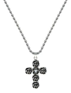 Montana Silversmiths Rose-arie Cross Necklace, , hi-res