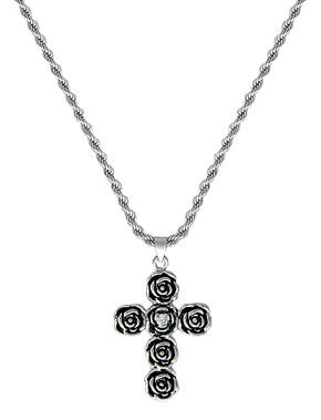 Montana Silversmiths Rose-arie Cross Necklace, Silver, hi-res