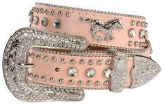 Nocona Girls' Pink Rhinestone Running Horse Concho Leather Belt - 18-28, , hi-res