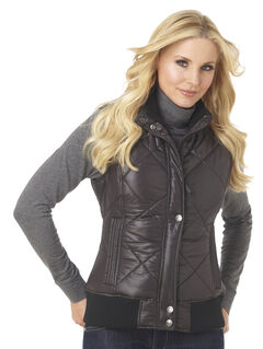 Cripple Creek Women's Water Resistant Quilted Faux Down Vest with Knit Trim, , hi-res