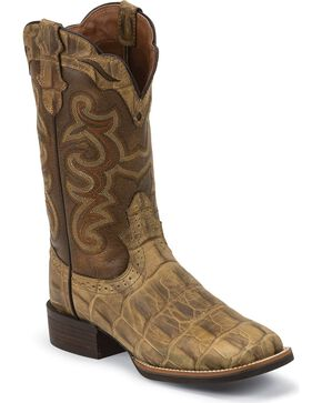 Justin Silver Croc Print Cattleman Cowgirl Boots - Square Toe, Beige, hi-res