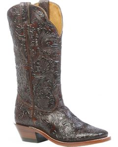 Boulet Floral Embossed Cowgirl Boots - Square Toe, , hi-res