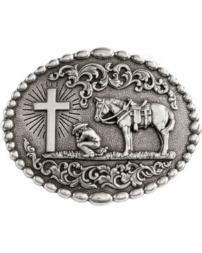 Nocona Cowboy Prayer Belt Buckle, Silver, hi-res