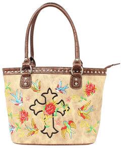Blazin Roxx Cross & Rose Embroidered Tote Bag, , hi-res