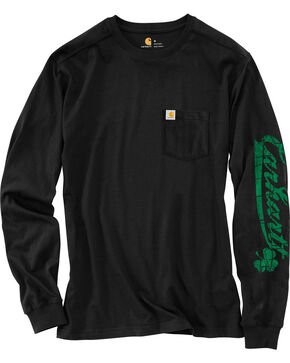 Carhartt Men's Black Maddock Graphic Shamrock Sleeved-Logo T-Shirt, Black, hi-res