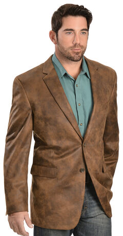 Domini Men's Distressed Faux Leather Blazer, Brown, hi-res