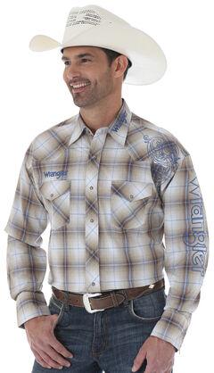Wrangler Khaki Plaid Logo Western Shirt - Tall Sizes , , hi-res