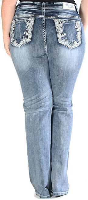 Grace in LA Light Wash Floral Pocket Bootcut Jeans - Plus Size , Indigo, hi-res