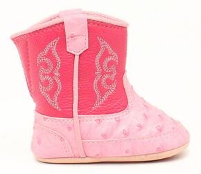 Blazin Roxx Infant Girls' Kinsley Pink Faux Ostrich Cowgirl Booties, Pink, hi-res