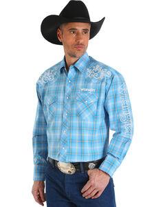 Wrangler Men's Blue Western Logo Long Sleeve Shirt , , hi-res