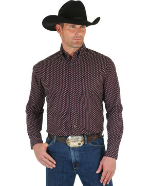 Wrangler George Strait Men's Burgundy Dot Shirt, Wine, hi-res