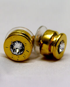 SouthLife Supply Women's Lizzy Bullet Stud Earring in Traditional Gold with Crystal, , hi-res