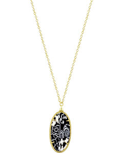 Jilzarah Black & White Gold Frame Pendant Necklace, , hi-res