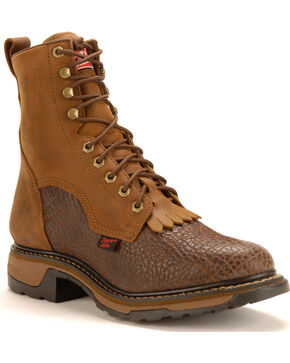 "Tony Lama Shoulder 8"" Lace-Up Work Boots, Chocolate, hi-res"