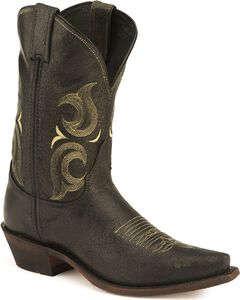 Justin Bent Rail Cowboy Boots - Pointed Toe, Black, hi-res