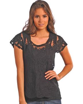 Rock & Roll Cowgirl Embroidered Tulle Blouse , Black, hi-res