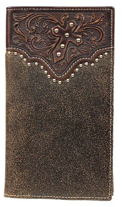 Ariat Distressed Embossed & Studded Rodeo Wallet, , hi-res
