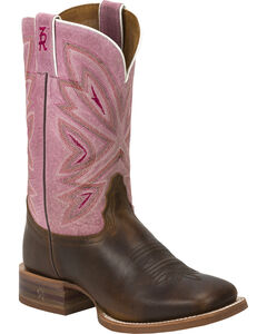 Tony Lama Tan Cuero 3R Stockman Cowgirl Boots - Square Toe , , hi-res