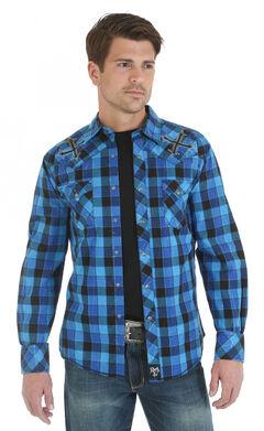 Wrangler Rock 47 Embroidered Blue and Black Plaid Long Sleeve Shirt, , hi-res